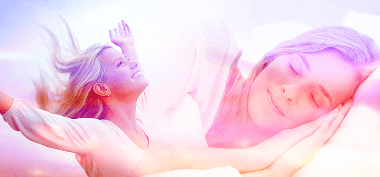 woman sleeping and woman waking up with pink filter
