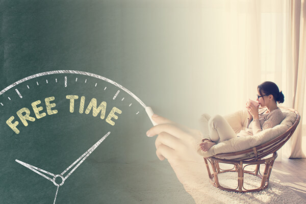 "Woman sitting in chair with cup of coffee looking out window with ""free time"" clock written over image"