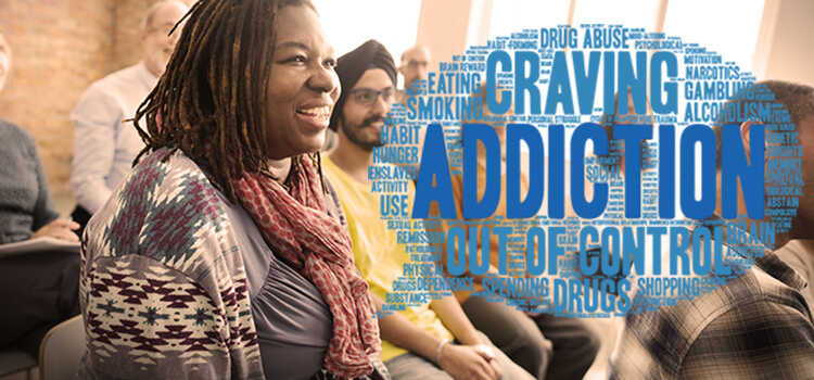 woman smiling with group of people with speech bubble displaying words like addiction, craving, etc.