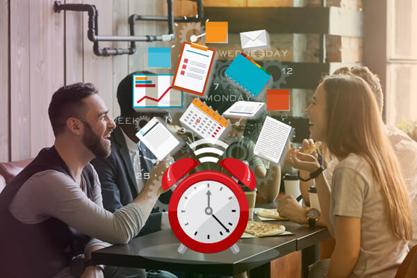 People sitting at desk communication with clock and organization supplies covering photo