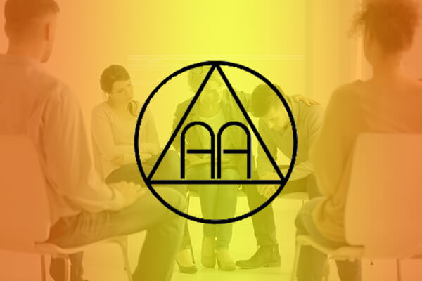 Orange and yellow background with people sitting in circle and 12 step recovery triangle with letters AA in the center