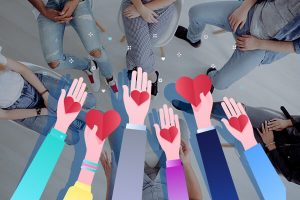 A series of hearts in hands